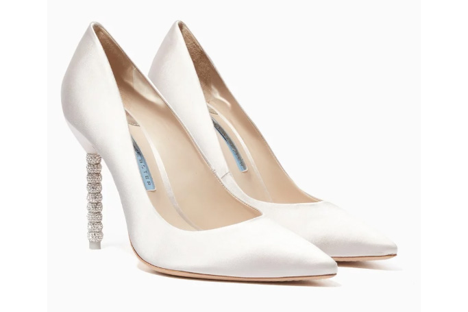 Sophia Webster - Ivory Satin Coco Crystal Pumps